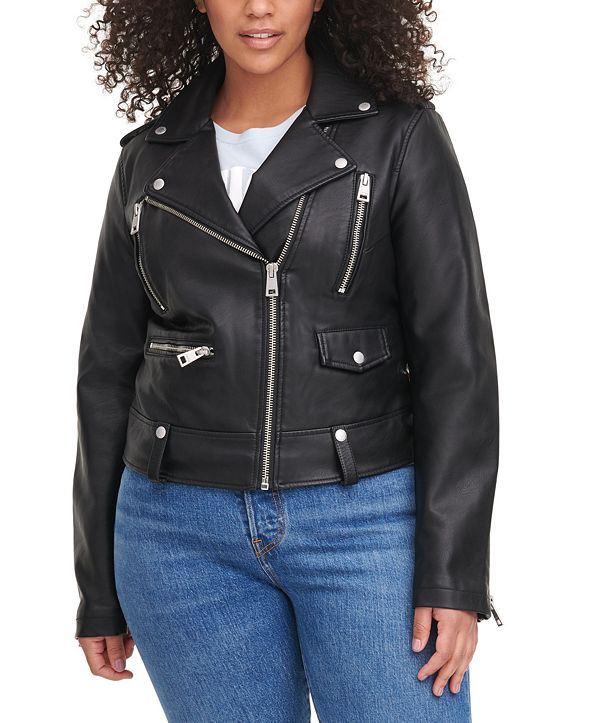 Levi's Trendy Plus Size Faux-Leather Moto Jacket