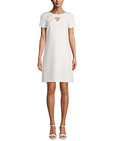 Anne Klein Bow-Trim Keyhole Shift Dress
