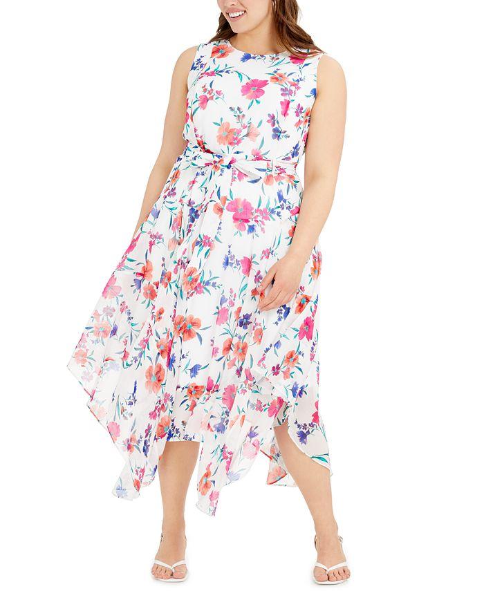 Calvin Klein - Plus Size Floral-Print Midi Dress