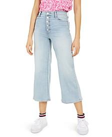 Cropped Button-Fly Wide-Leg Jeans