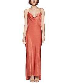 Cowlneck Satin Sheath Dress
