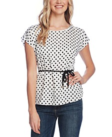 Extend Shoulder Delightful Dots Blouse with Rope Belt