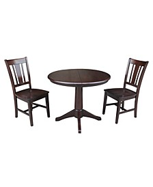 "36"" Round Extension Dining Table with 2 San Remo Chairs"