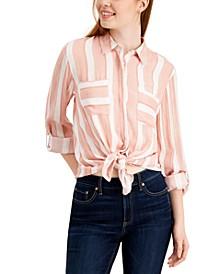 Juniors' Striped Tie-Front Shirt