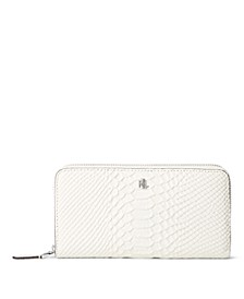 Leather Matte Python Embossed Large Zip Continental Wallet