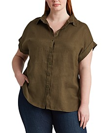 Plus Size Linen Dolman-Sleeve Top