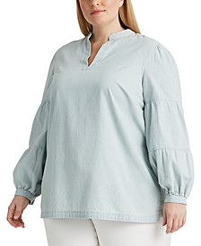 Plus-Size Chambray V-Neck Top