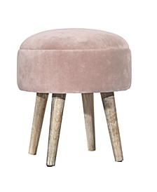 Upholstered Backless Pouf Non-Swivel Vanity Stool