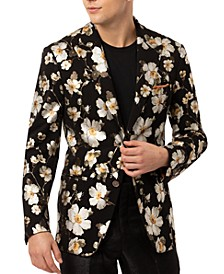 Men's Slim-Fit Vigaro Black & Gold Floral Sport Jacket