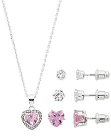 "Fine Silver Plate Cubic Zirconia Pink Heart Necklace and Stud Earring Set, 18"" + 3"" extender"