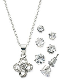 "Fine Silver Plate Cubic Zirconia Twirl Necklace and Stud Earring Set, 18"" + 3"" extender"