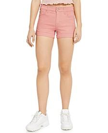 Juniors' Mid-Rise Cuffed Denim Shorts
