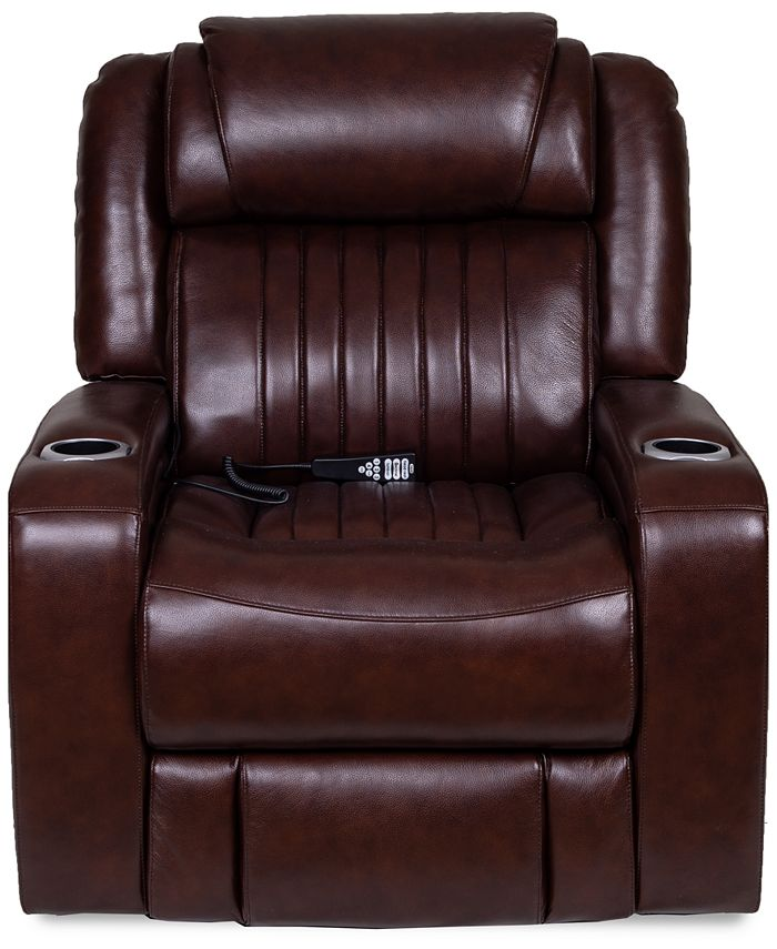 Furniture - Henriel Leather Power Recliner with Air Massager