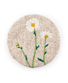 "8"" Tan Felted Wool Trivet with/White Flowers"