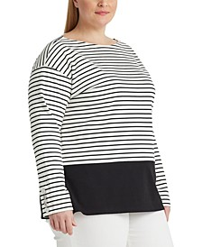 Plus-Size Striped Cotton Jersey Top