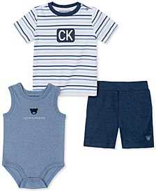 Baby Boys Stripe Shirt with Bodysuit Pants Set