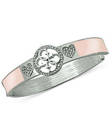 Silver-Tone Pavé Heart & Logo Bangle Bracelet