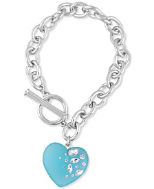 Crystal-Frosted Heart Charm Link Bracelet