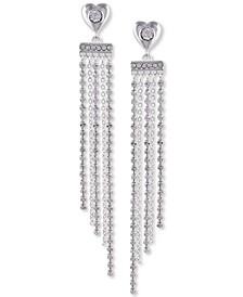 Silver-Tone Crystal Heart Fringe Linear Earrings