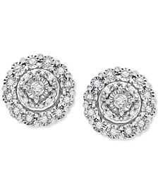 Diamond Halo Cluster Stud Earrings (1/10 ct. t.w.) in Sterling Silver