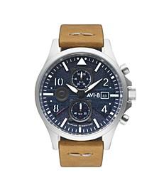 Men's Hawker Hurricane Chronograph Bulman Edition Tan Genuine Leather Strap Watch 45mm