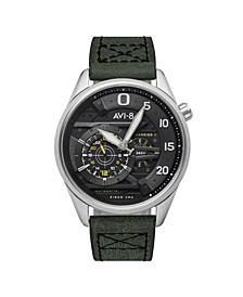 Men's Hawker Harrier II Automatic Ace of Spades Edition Green Genuine Leather Strap Watch 45mm