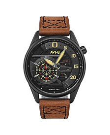 Men's Hawker Harrier II Automatic Ace of Spades Edition Brown Genuine Leather Strap Watch 45mm
