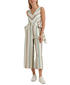 Daisy Striped Belted Jumpsuit
