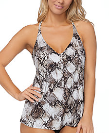 Island Escape Cannes Snake Printed Tankini Top, Created for Macy's