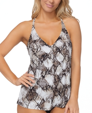 Island Escape Cannes Snake Printed Tankini Top, Created for Macy's Women's Swimsuit