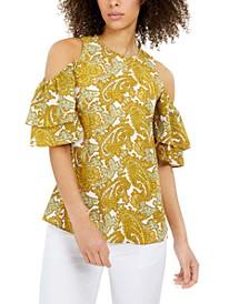 Paisley-Print Cold-Shoulder Ruffled-Sleeve Top