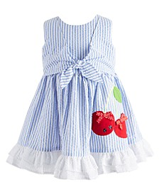 Baby Girls Striped Seersucker Tie-Front Dress