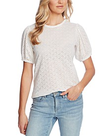 Puffed-Sleeve Eyelet Top