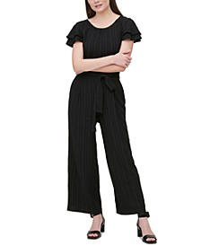 Stripe-Textured Belted Jumpsuit