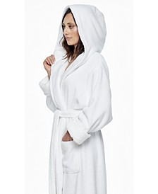 Women's Ankle Length Hooded, Low Twist, Soft Turkish Cotton Bathrobe