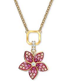"Gold-Tone Tropical Flower Pendant Necklace, 14-7/8"" + 2"" extender"