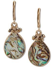 Gold-Tone Abalone Stone Drop Earrings