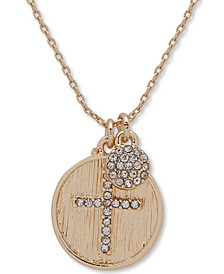 """Gold-Tone Crystal Cross Pendant Necklace, 16"""" + 3"""" extender"""