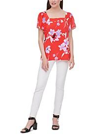Floral-Print Sheer-Sleeve Top