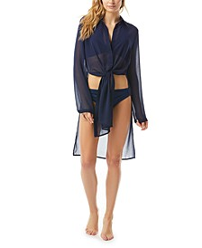 Tie-Front Convertible Shirt Swim Cover-Up