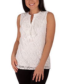 NY Collection Petite Lace Ruffled Top