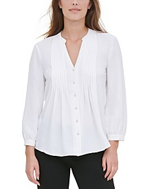 Pleated-Placket Blouse