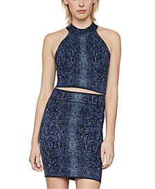 Snake-Embossed Cropped Top