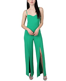 Juniors' Bustier Slit-Leg Jumpsuit