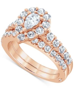Certified Diamond Pear Halo Bridal Set (2 ct. t.w.) in 18K White