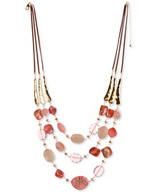 "Stone & Shell Beaded Triple-Row Faux-Suede Necklace, 25"" + 3"" extender, Created For Macy's"