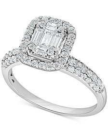Diamond Baguette Cluster Halo Ring (1 ct. t.w.) in 14k White Gold