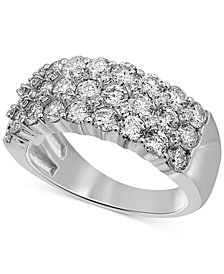 Diamond Three Row Band (2-1/4 ct. t.w.) in 14k White Gold