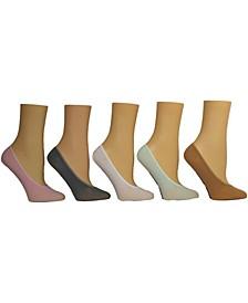 Women's Solid Microfiber Foot Liner Socks, Pack of 5