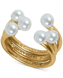 Gold-Tone Imitation Pearl Adjustable Stack Ring